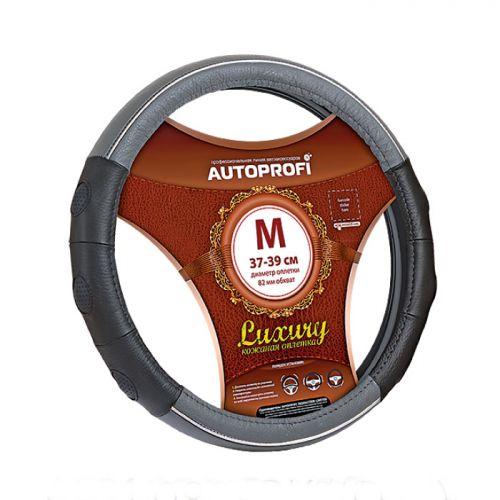 Оплетка руля Autoprofi Luxury AP-1060, с вставками из экокожи, цвет: черный, серый. Размер M (37-39 см). AP-1060 BK/GY (M) цена