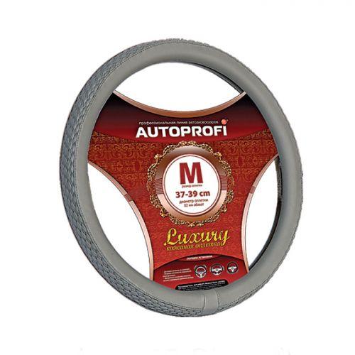 цена на Оплетка руля Autoprofi Luxury AP-810, с плетеными вставками, цвет: серый. Размер M (38 см). AP-810 GY (M)