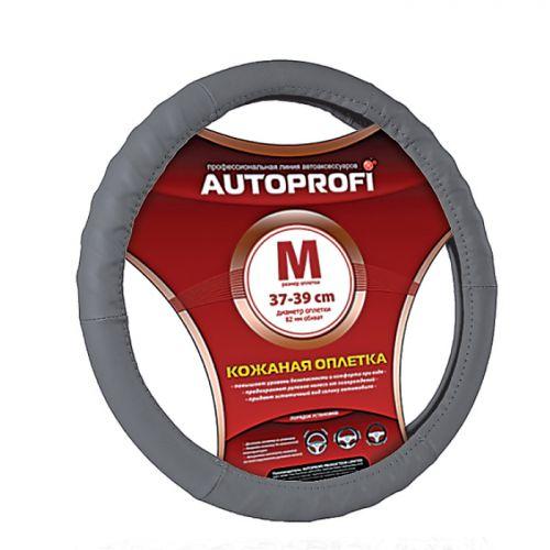 Оплетка руля Autoprofi AP-300, протектор елочкой, цвет: серый. Размер M (38 см). AP-300 D.GY (M) оплетка руля autoprofi экокожа размер м черная