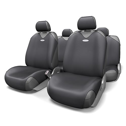 Чехлы-майки на сиденья Autoprofi R-1 Sport, полиэстер, цвет: черный, 9 предметов. R-802 BK цена