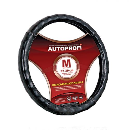 Оплетка руля Autoprofi AP-765, глянцевая, ребристая, цвет: черный. Размер M (37-39 см). AP-765 BK (M) оплетка руля autoprofi экокожа размер м черная