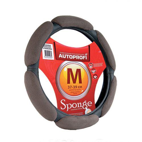 Оплетка руля Autoprofi Sponge SP-5026, 6 подушечек, наполнитель: поролон, цвет: темно-серый, черный. Размер M (38 см) оплетка руля autoprofi экокожа размер м черная