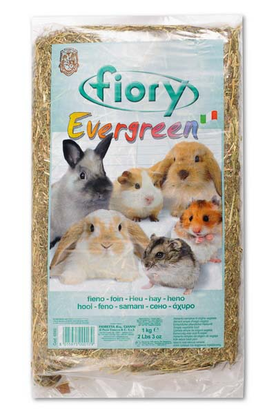 Сено для грызунов Fiory Evergreen, прессованное, 1 кг