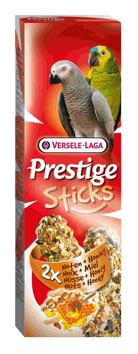 Лакомство для крупных попугаев Versele-Laga Prestige Sticks, с орехами и медом, 2х70 г лакомство для птиц versele laga палочка для крупных попугаев с орехами и медом 70г