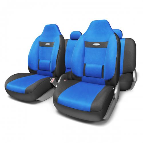 Набор ортопедических авточехлов Autoprofi Comfort, для кресел с литыми подголовниками, велюр, цвет: черный, синий, 11 предметов. Размер M набор чехлов для дивана и кресел мартекс с карманами 3 предмета 05 0751 3