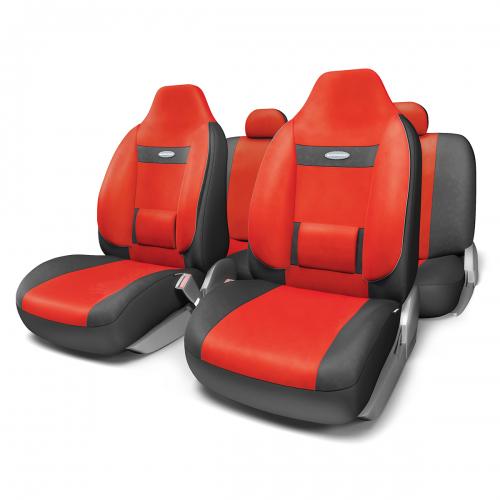 Набор ортопедических авточехлов Autoprofi Comfort, для кресел с литыми подголовниками, велюр, цвет: черный, красный, 11 предметов. Размер M набор чехлов для дивана и кресел мартекс с карманами 3 предмета 05 0751 3