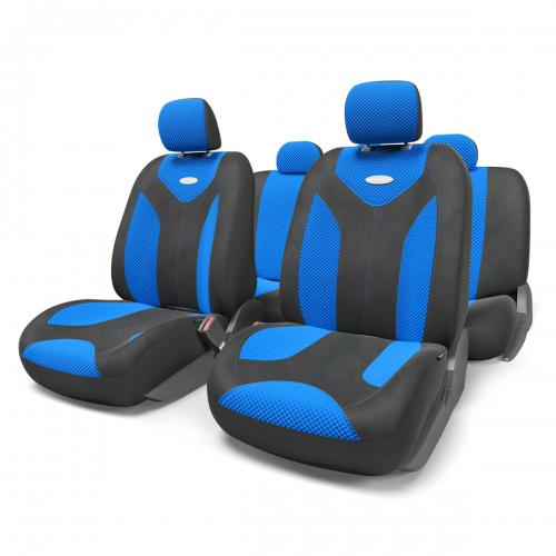 Набор авточехлов Autoprofi Matrix, велюр, цвет: черный, синий, 11 предметов. Размер М