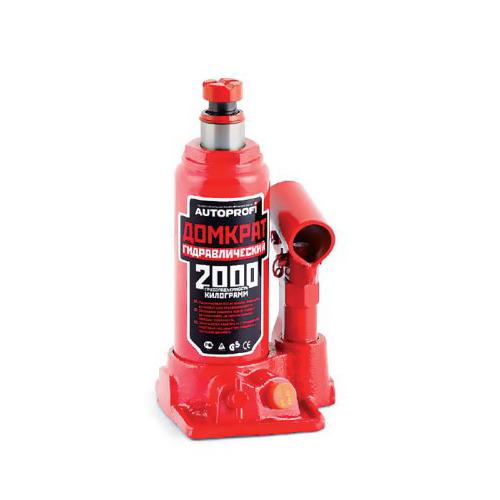 Домкрат гидравлический Автопрофи / Autoprofi, бутылочный, 2 т, высота подъема 308 мм, 1/10 домкрат autoprofi dg 02k гидравлический бутылочный 2 т высота подъёма 308 мм в кейсе