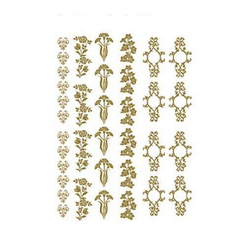 Трансфер универсальный Цветочные элементы, цвет: золотой, 17 х 25 см CD-306
