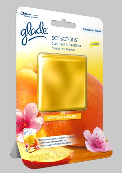 Гелевый освежитель воздуха Glade Фруктовая фантазия, цвет: желтый, 8 г освежитель воздуха гелевый glade океанский оазис сменный блок 8 г