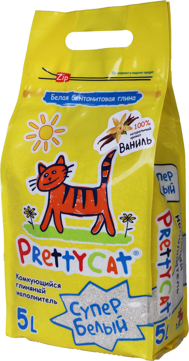 Наполнитель для кошачьих туалетов PrettyCat Супер белый, комкующийся, с ароматом ванили, 5 л наполнитель prettycat супер белый комкующийся с ароматом ванили для кошек 10кг club