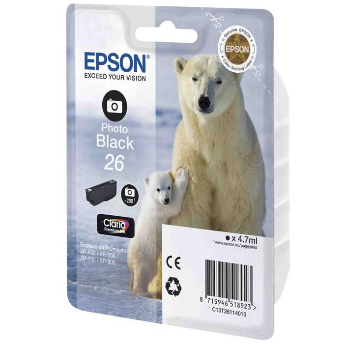 цена на Картридж Epson 26, черный, для струйного принтера, оригинал