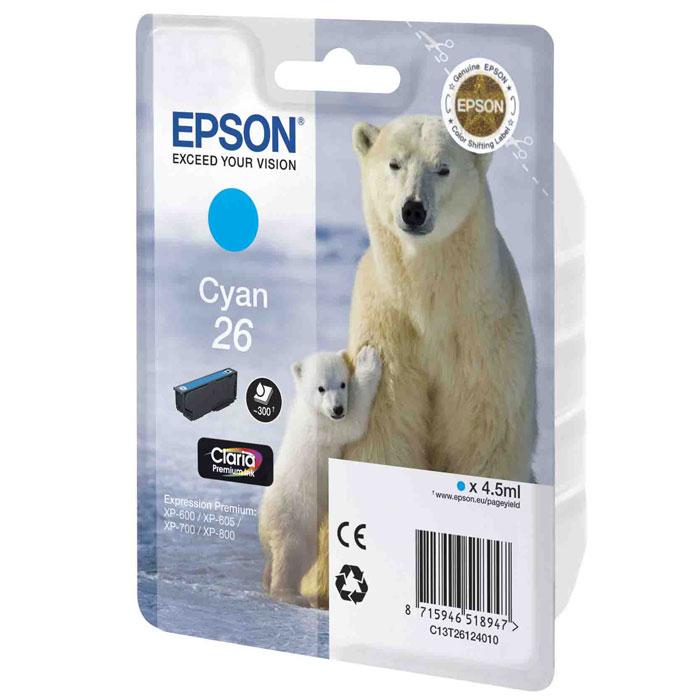 Картридж Epson 26, голубой, для струйного принтера, оригинал