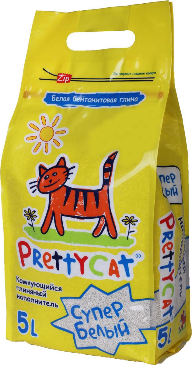 Наполнитель для кошачьих туалетов PrettyCat Супер белый, комкующийся, 5 л. 620024 наполнитель prettycat супер белый комкующийся с ароматом ванили для кошек 10кг club