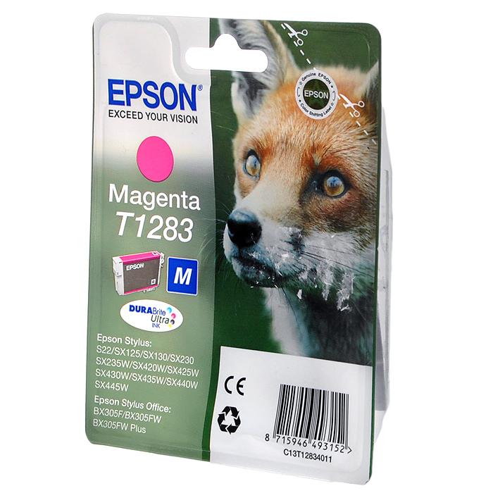 Картридж Epson T1283 (C13T12834012), пурпурный original cc03main mainboard main board for epson l455 l550 l551 l555 l558 wf 2520 wf 2530 printer formatter