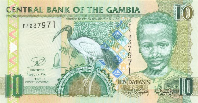 Банкнота номиналом 10 даласи. Гамбия. 2006 год