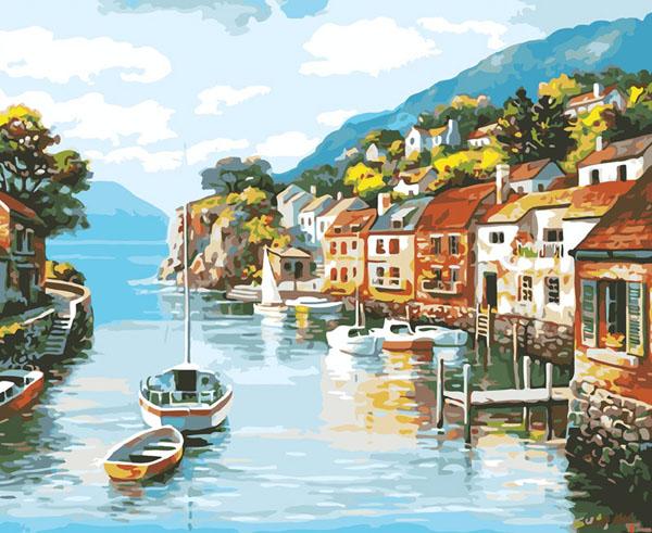 Живопись на холсте Лодочка на реке, 40 х 50 см живопись на холсте курортный городок 40 х 50 см