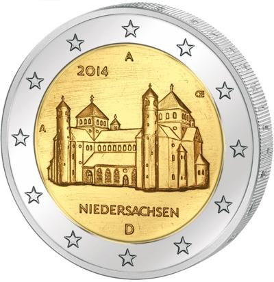 Монета номиналом 2 евро Нижняя Саксония. Монетный двор D. Германия, 2014 год цена
