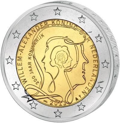 Монета номиналом 2 евро 200 лет Королевству Нидерландов. Нидерланды, 2013 год монета номиналом 2 евро 2017 бельгия 200 лет университету гента цветная