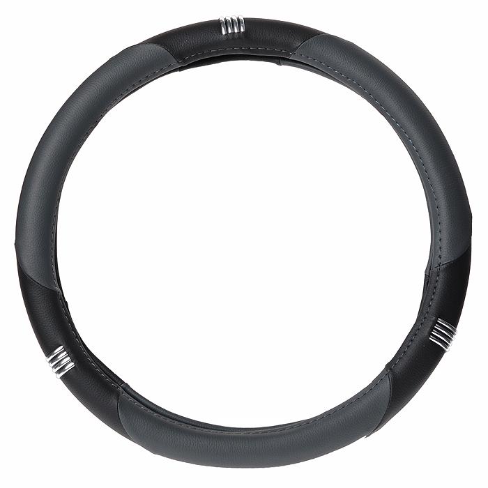 цена на Оплетка руля Autoprofi AP-150, с вставками из мокрой кожи, цвет: черный, серый. Размер M (37-39 см)