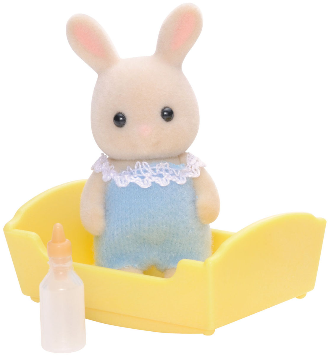 Sylvanian Families Фигурка Малыш Молочный Кролик5063Игровой набор Sylvanian Families Малыш Молочный Кролик привлечет внимание вашей малышки и не позволит ей скучать. Набор включает в себя фигурку Молочного Кролика, одетого в голубой костюмчик, и аксессуары для него: желтую люльку и бутылочку для кормления. Фигурка животного выполнена из пластика и покрыта мягким приятным на ощупь флоком. Ваша малышка будет часами играть с набором, придумывая различные истории. Sylvanian Families - это целый мир маленьких жителей, объединенных общей легендой. Жители страны Sylvanian Families - это кролики, белки, медведи, лисы и многие другие. У каждого из них есть дом, в котором есть все необходимое для счастливой жизни. В городе, где живут герои, есть школа, больница, рынок, пекарня, детский сад и множество других полезных объектов. Жители этой страны живут семьями, в каждой из которой есть дети. В домах Sylvanian Families царит уют и гармония. Домашние животные радуют хозяев. Здесь продумана каждая мелочь, от одежды до мебели и аксессуаров. Характеристики: Материал: пластик, текстиль. Высота фигурки: 4,5 см. Рекомендуем!