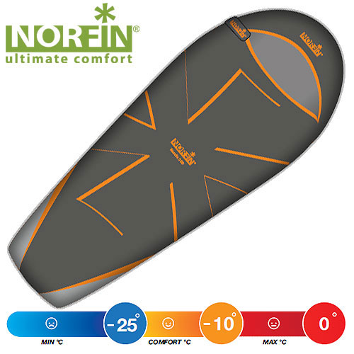 Мешок-кокон спальный Norfin NORDIC 500 NS R, цвет: оранжевый/серый, правосторонняя молния