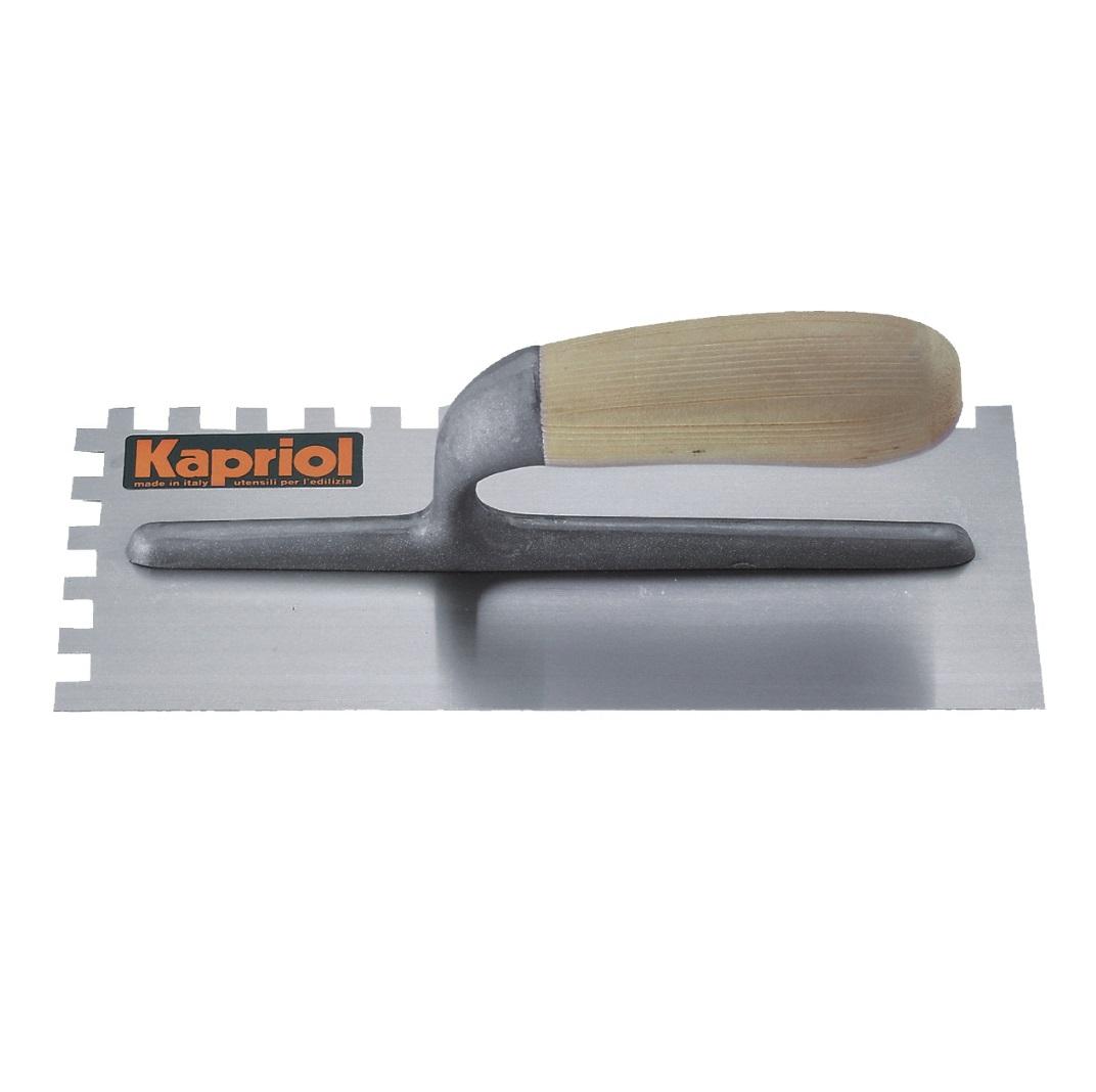 Гладилка зубчатая Kapriol, с деревянной ручкой, зуб 8 мм, 12 см х 28 см плоская зубчатая гладилка 10х10мм fit 05170