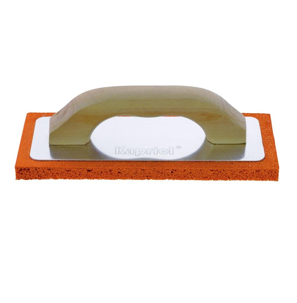 Терка штукатурная Kapriol с мягкой губкой и деревянной ручкой, 10 см х 24 см терка для ног деревянная основа двухсторонняя solinberg ширина 60 мм