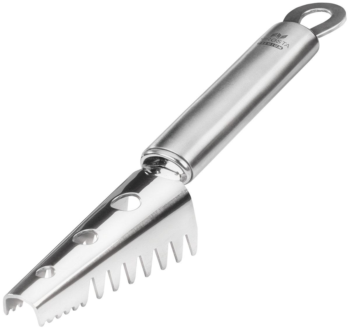 Нож для чистки рыбы Fackelmann Nirosta, длина 20 см37004321Нож для чистки рыбы Fackelmann Nirosta изготовлен из нержавеющей стали 18/10. Изделие оснащено специальными зубчиками, эффективно очищающими рыбу. Очистки не накапливаются внутри, а выходят через специальные отверстия. Удобная рукоятка обеспечивает комфорт при использовании. На рукоятке также имеется отверстие, за которое нож можно повесить в удобное для вас место. Можно мыть в посудомоечной машине. Характеристики: Материал: нержавеющая сталь. Цвет: серебристый. Длина ножа: 20 см. Размер рабочей поверхности: 3,5 см х 7,5 см.