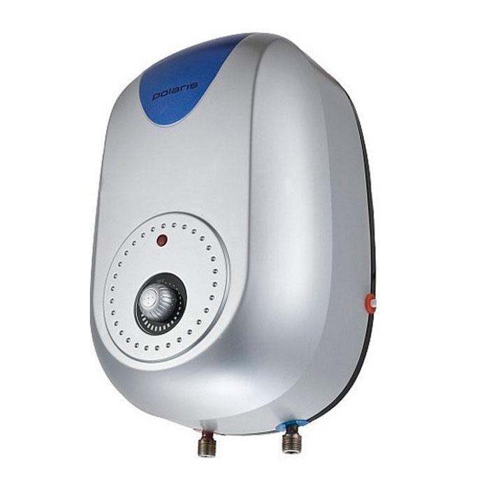 Водонагреватель накопительный электрический Polaris RZ10, 10 л, серебристый, синий электрический накопительный водонагреватель polaris pm 30v