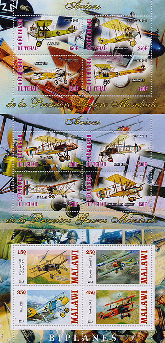 Комплект из трех почтовых блоков,Бипланы. Малави. Чад, 2013 год комплект из трех почтовых блоков рептилии джибути руанда малави 2013 год