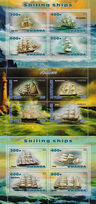Комплект из трех почтовых блоков Корабли. Чад. Руанда. 2013 год комплект из трех почтовых блоков рептилии джибути руанда малави 2013 год