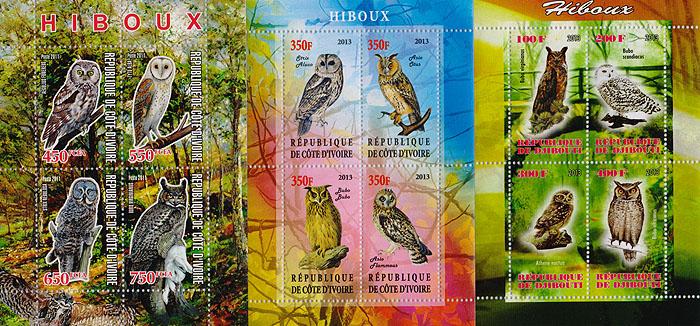Комплект из трех почтовых блоков Совы. Кот-д' Ивуар. 2011 - 2013 гг. малый лист бабочки кот д ивуар 2013 год