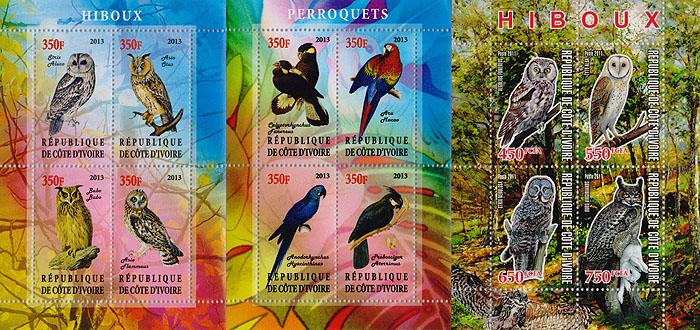 Комплект из трех почтовых блоков Птицы. Кот-д' Ивуар. 2011- 2013 гг. малый лист бабочки кот д ивуар 2013 год