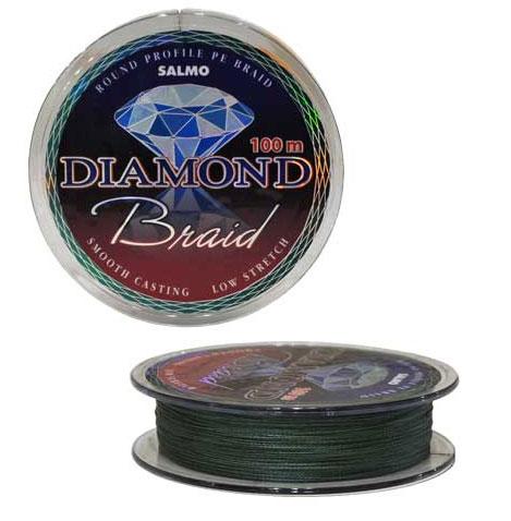 Шнур плетеный Salmo Diamond Braid, цвет: зеленый, сечение 0,24 мм, длина 100 м