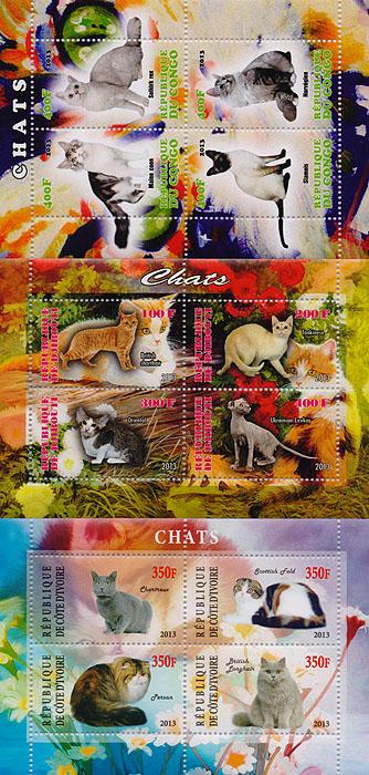 Комплект из трех почтовых блоков,Кошки. Конго. Джибути. Кот-д' Ивуар. 2013 год комплект из трех почтовых блоков рептилии джибути руанда малави 2013 год