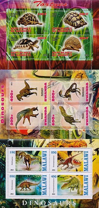 Комплект из трех почтовых блоков,Рептилии. Джибути. Руанда. Малави. 2013 год комплект из трех почтовых блоков рептилии джибути руанда малави 2013 год