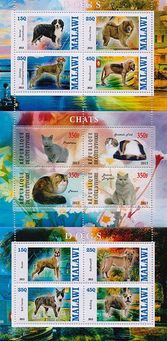 Комплект из трех почтовых блоков,Кошки. Собаки. Малави. Кот-д' Ивуар. 2013 год малый лист бабочки кот д ивуар 2013 год