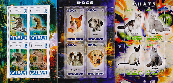 Комплект из трех почтовых блоков,Кошки. Собаки. Конго. Руанда. Малави. 2013 год комплект из трех почтовых блоков рептилии джибути руанда малави 2013 год
