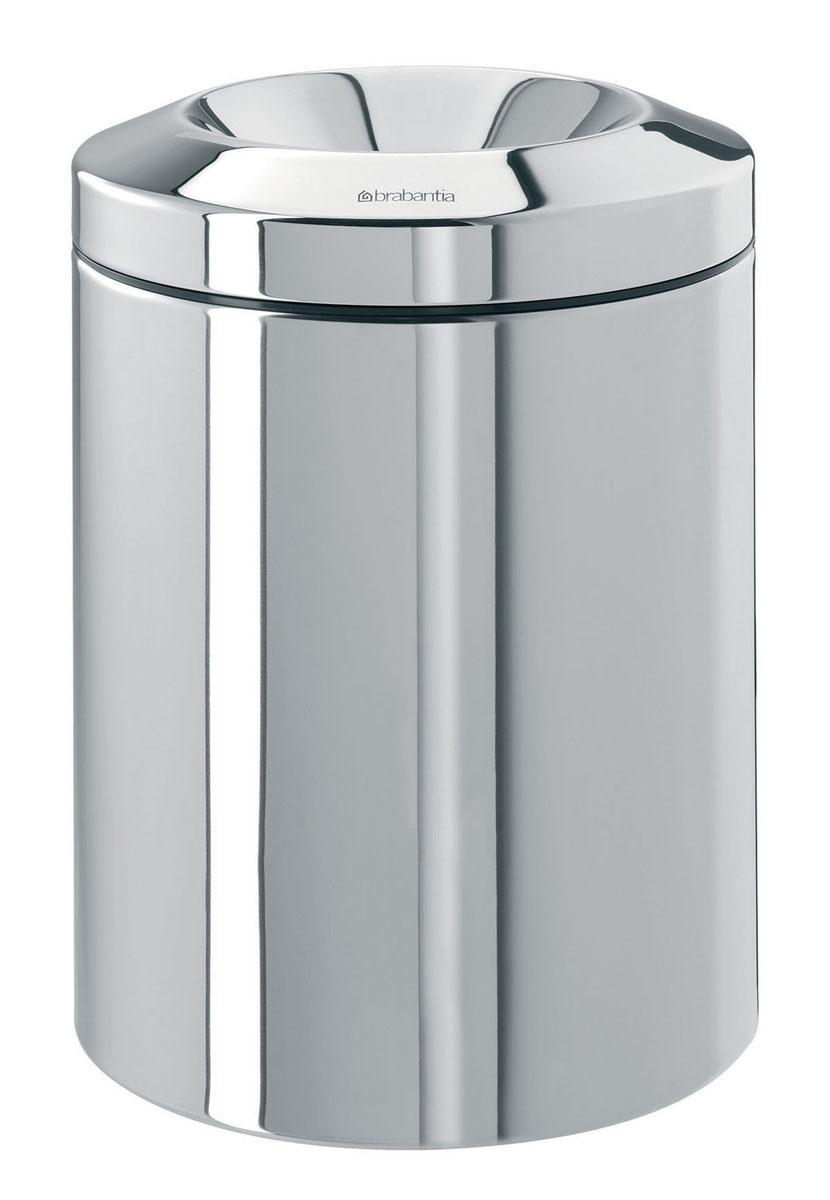 """Урна """"Brabantia"""", с защитой от возгорания, цвет: стальной полированный, 7 л. 378928"""