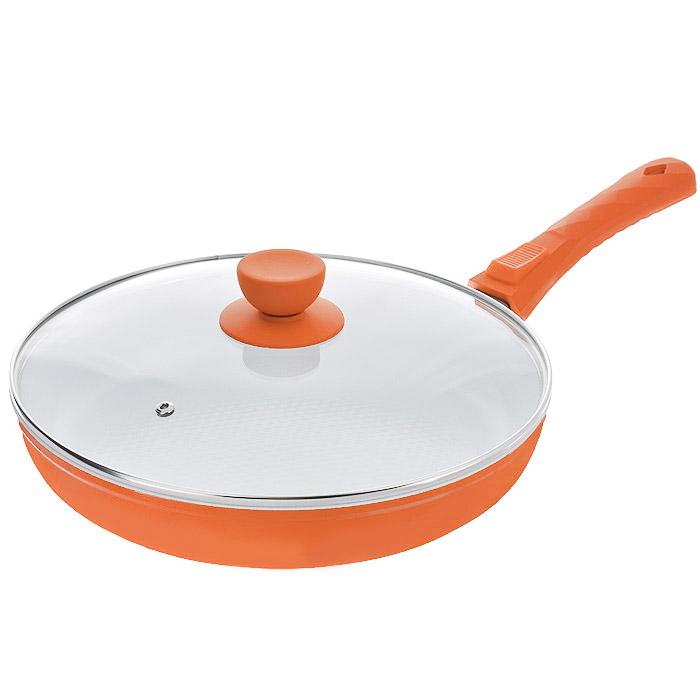 """Сковорода """"Bohmann"""" с крышкой, со съемной ручкой, с керамическим покрытием, цвет: оранжевый. Диаметр 26 см. 7026BH/2WC"""