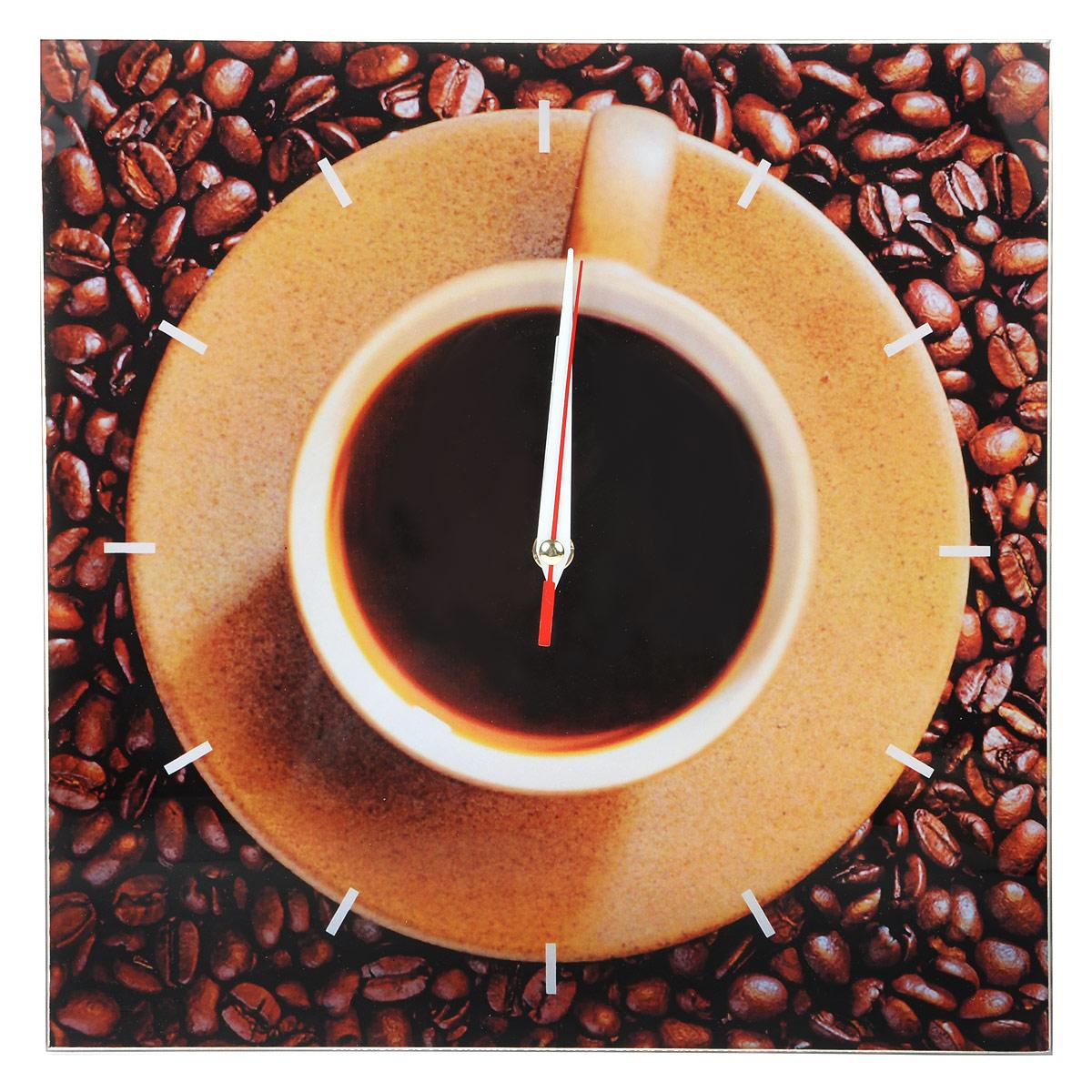 """Часы настенные """"Кофе"""", стеклянные, цвет: коричневый. 95299"""