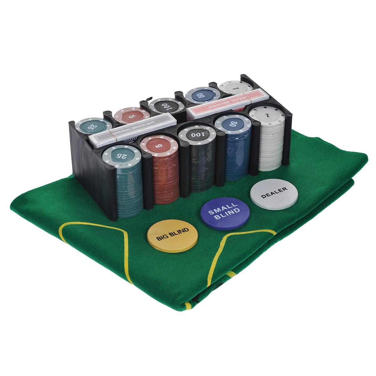 Набор для покера Компания Игра Металл. банка для покера Техас Холдем(2х54л.(карты Китай)+200 ф. по 4г с номин.+сукно+3 ф.дилера) ГД2к черный, зеленый фишки для покера с номиналом 11 5 г 25 штук