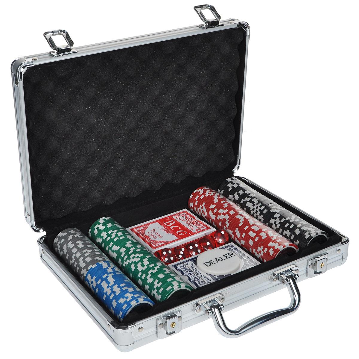 Набор для покера Компания Игра Дипломат для покера Ультимейт(2х54л.(карты Китай)+5 игр.кост.+200 ф. по 14г с номин.+ф.дилера)ГД5/200к серебристый фишки для покера с номиналом 11 5 г 25 штук