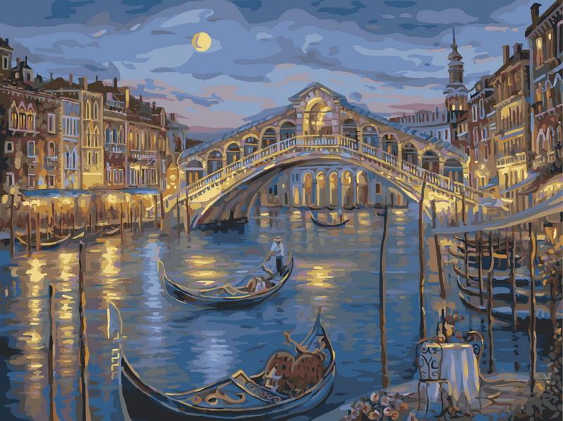 """Живопись на холсте """"Венецианская ночь"""", 40 х 50 см. 846-AB"""