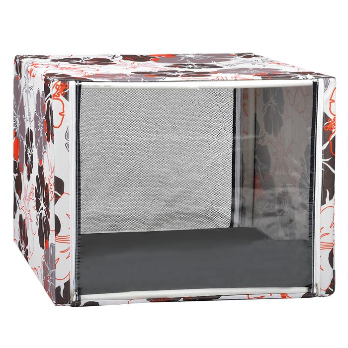 """Клетка для кошек """"Крупные цветы"""", выставочная, разборная, цвет: красный, бежевый, 76 см х 56 см х 56 см"""