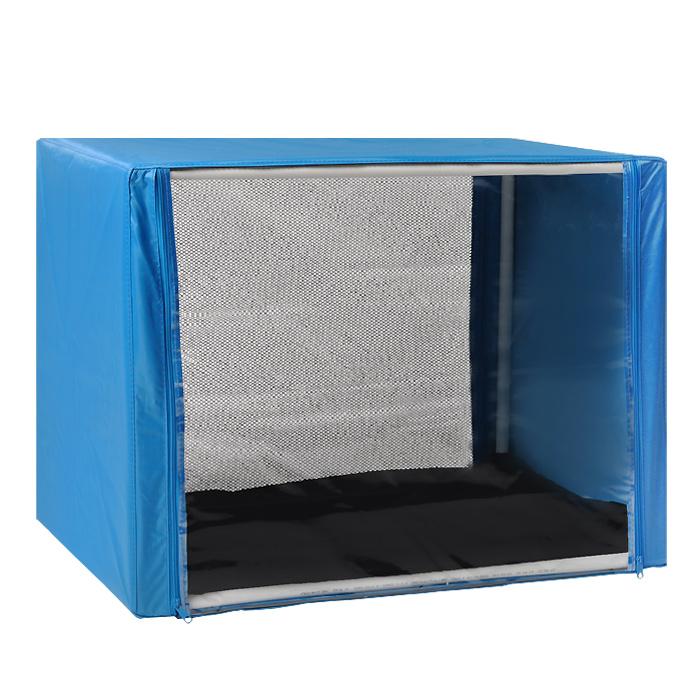 """Клетка для кошек """"Заря-Плюс"""", выставочная, разборная, цвет: голубой, 76 см х 56 см х 56 см. КВР1"""