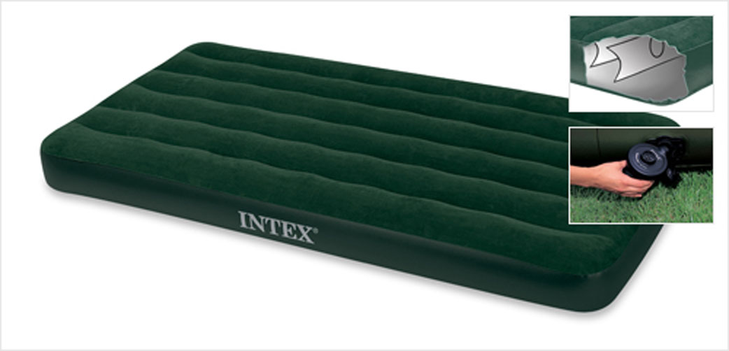 """Матрас надувной Intex """"Престиж"""", флокированный, цвет: зеленый, 191 х 99 х 22 см. 66967"""