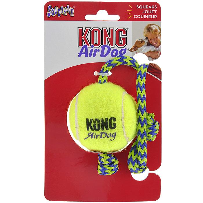 Игрушка для собак Kong Air Теннисный мяч с канатом игрушка для собак kong air теннисный мяч очень маленький