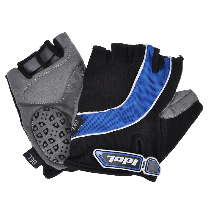 Перчатки велосипедные Idol, цвет: черный, синий. 1530. Размер M